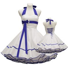50's wedding dress in white blue for a petticoat