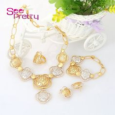 SeePretty A409 Dubai Round Ball Beads Bridal Jewelry,Silver 18K Real Gold Plated Jewellery Sets