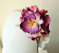 Silk pansies, flower headband, flower headdress, floral hairpiece, velvet flower