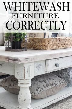 Tips to Whitewash Furniture Whitewashing gives a piece a farmhouse style or cottage style feel. Like any DIY project if you are going to put the time into your project, you want to make it do correctly, learn how to do it correctly here! Whitewashing give Refurbished Furniture, Farmhouse Furniture, Repurposed Furniture, Furniture Makeover, Farmhouse Decor, Home Furniture, Furniture Design, Furniture Ideas, Antique Furniture