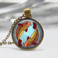 Pisces Zodiac Glass Pendant - Pisces Zodiac Jewelry