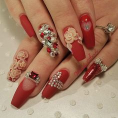 Red coffin Nails with bling design, so beautiful, Valentines nails Fancy Nails, Bling Nails, Trendy Nails, Bling Bling, Fabulous Nails, Gorgeous Nails, Gorgeous Makeup, Hot Nails, Hair And Nails