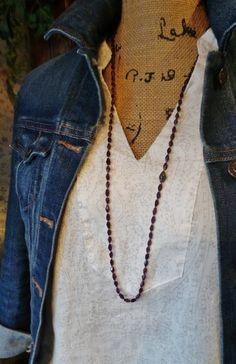 Genuine GARNET Long Boho Necklace and Bracelet in One / Garnet and Pave Necklace / Gemstone Boho Necklace
