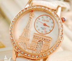 Diamond Watches Ideas : Luxury Crystal Diamond Eiffel Tower Lady Girl Quartz Wrist Dress Watch With Leat. - Watches Topia - Watches: Best Lists, Trends & the Latest Styles Cute Watches, Stylish Watches, Luxury Watches, Cute Jewelry, Jewelry Accessories, Vintage Jewelry, Bling, Beautiful Watches, Fashion Watches