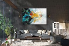 Items similar to Large Modern Wall Art Painting,Large Abstract Painting on Canvas,texture painting,gold canvas painting,gallery wall art on Etsy Large Abstract Wall Art, Large Canvas Art, Large Painting, Large Wall Art, Textured Painting, Large Art, Oversized Wall Decor, Oversized Canvas Art, Bright Paintings