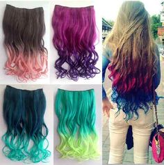 """$11.50 oh yeah!synthetic hair though.   26"""" Enstyle Supreme Neon Tangle Curly 100 Human Color Hair Extension Ponytail 