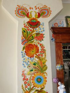 For white molding in living room Family Tree Art, Polish Folk Art, Wall Murals, Wall Art, Estilo Hippie, Ukrainian Art, Arte Popular, Window Art, Floral Illustrations