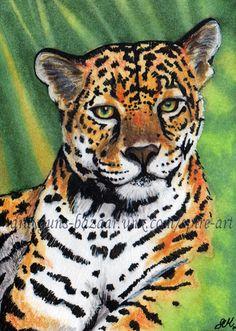 What a beautiful Jaguar...ACEO Original art animals wild cats jaguar jungle forest illustration - SMcNeill