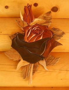 Double Rose Intarsia Wood Art - Wood Decor - Wall Hanging - NEW #TheHandcrafted