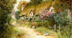 El jardín de una casa (niña hablando con un gato)