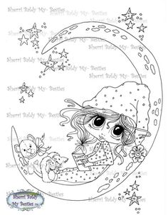 INSTANT digitale Digi Stamps Big Eye Big hoofd poppen Bestie