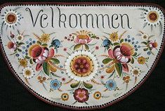 Os Floor Cloth Pattern Packet Velkommen - Welcome, Norway Folk Art Flowers, Flower Art, Flower Fairies, Traditional Paintings, Traditional Art, Tole Painting Patterns, Wood Patterns, Henna Patterns, Rosemaling Pattern
