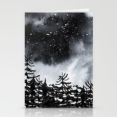 Lost Stationery Cards Watercolor sky and trees. Inspired by the cold night Northern skys. Cold Night, Watercolor Trees, Letter Writing, Night Skies, Stationary, Wanderlust, Lost, Lettering, Inspired