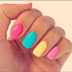 Isn't this combination of pastel nail colours gorgeous? Pink, lemon and blue - the perfect set of summer nail varnishes!