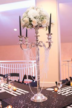 Harrison Opera House Wedding Roses and Pearls Centerpiece
