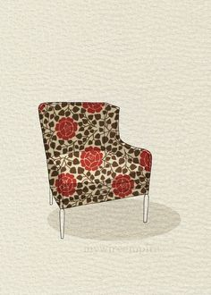 modern chair 3 (rose garden) | mywireempire via Etsy.