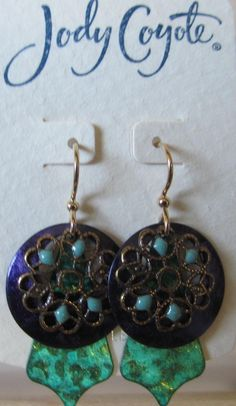 Jody Coyote Earrings Jc0871 Carnival Qn279-01 Green Gold Purple Dangle