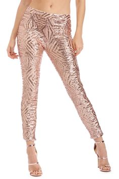 Rose Gold Geometric Sequin Pants | Make your outfit just as fun and festive as the holidays! These pants feature a back zipper, geometric sequins and a skinny fit.
