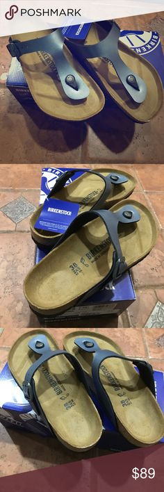 NWIB Birkenstock Mayari 💖 Authentic Birkenstocks color is onyx it is a silvery blue. The style is Mayari Size 38 regular. This is on their synthetic line. Traditional bottoms. These are very cute and comfortable. These will sell very fast.💖 Birkenstock Shoes
