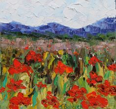 """Daily Painters Abstract Gallery: Original Palette Knife Poppy Landscape Painting """"Fishing For Poppies"""" by Colorado Impressionism Artist Judith Babcock"""