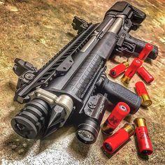 Kel Tec KSG shotgun with a few upgrades. Bullpup Shotgun, Tactical Shotgun, Tactical Gear, Weapons Guns, Guns And Ammo, Airsoft, Keltec Ksg, Hidden Gun, Shooting Gear