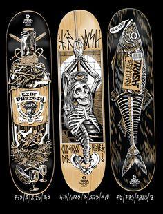 Trash Wood Limited by Ave Slava, via Behance Skateboard Deck Art, Surfboard Art, Skateboard Design, Longboard Design, Longboard Decks, Skate Bord, Skate Street, Complete Skateboards, Cool Deck