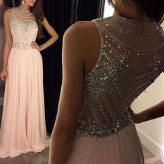 Illusion Neckline Beaded Back Prom Dress, Blush Chiffon Prom Dress, Pale Pink Prom Dresses with Beaded See-through Back, #020100026