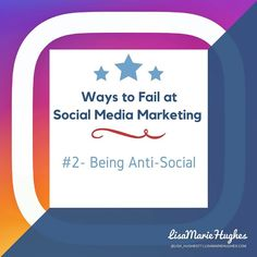 Ways to Fail at Social Media Marketing: #2 Being Anti-Social If you are not social on social media it's like hosting a press conference or Q&A session and refusing to answer any questions.  So take advantage of your accounts by tweeting sharing and responding to your followers!  So do you want to learn how to Crush it on Instagram?  Imagine adding an easy 5-10 leads per day to your business with Instagram... for FREE! GO HERE: http://ift.tt/2lfqjlv  Double Tap & TAG a friend if you like…