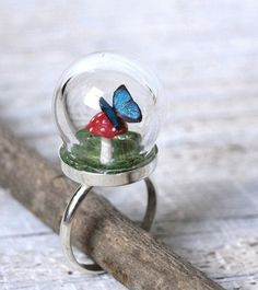 Terrarium Ring Toadstool Mushroom and Blue Morpho Butterfly