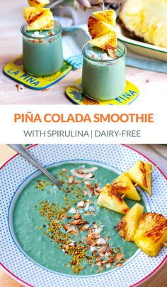 Pine Colada Smoothie With Spirulina Powder. Frozen banana pineapple and coconut smoothie blender with antioxidant-rich superfood for extra benefits. Smoothie Blender, Coconut Smoothie, Superfood Powder, Spirulina Powder, Yummy Smoothies, Smoothie Recipes, Easy Family Meals, Family Recipes, Healthy Foods To Eat