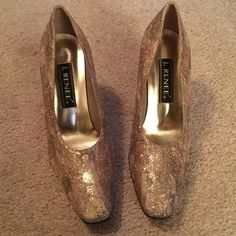 J. REENEE' Glitter Heels Gold Sparkled Pumps.  Leather soles, made in China. Worn once size 9 1/2 M.  3 inch gold heel.  Very good Condition. J. Renee Shoes Heels