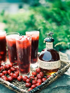 Cherry Bourbon Fizz - Signature Cocktail Ideas for your wedding day.  More on Snippet & Ink!