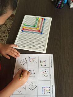 Organizzazione di punti BASIC - Metodo Feuerstein. Esecuzione della pagina dopo una pre-mediazione concreta attraverso l'uso di chiodini ed elastici.