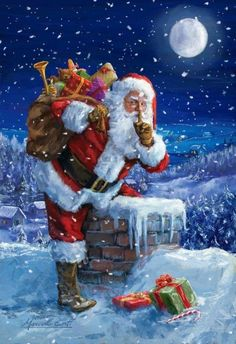 Santa Claus by the chimney to deliver presents on Christmas Eve Christmas Scenes, Christmas Pictures, Winter Christmas, Christmas Crafts, Merry Christmas, Father Christmas, Xmas, Christmas Costumes, Illustration Noel