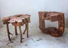 side tables from tree cuts