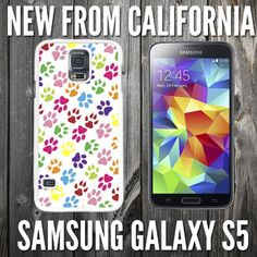 Cute Colorful Paw Prints Custom made Case/Cover/skin FOR Samsung Galaxy S5 - White - Plastic Snap Case ( Ship From CA)