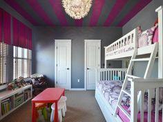 Super fun kids' room!  Grey | Magenta | Accent Ceiling | Creative Light Fixture | Mueller Homes Austin Texas | Mueller Realtor | Mueller Development | 3905 Sahm Street http://muellersilentmarket.com/