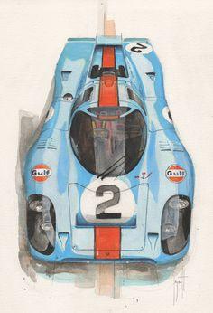 ecartt:  Porsche 917K. Aquarelle-acrylique/papier