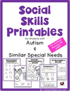 These social skills printables will work well in your Autism Classroom for any students whose special needs include developmental delays or it may work for younger students in primary grades learning to develop social skills in Special Edcuation. #Specialeducation #teacherspayteachers
