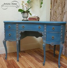 Rococo desk transformed with Chalk Paint® in Aubusson Blue (over Primer Red) with Duck Egg wash, clear dark wax, gold accents. Artistic Home Studio Boutique, Alameda, CA. Annie Sloan Painted Furniture, Chalk Paint Furniture, Annie Sloan Chalk Paint, Custom Furniture, Annie Sloan Farbe, Turquoise Furniture, Painted Coffee Tables, Chalk Paint Colors, Chalk Paint Projects