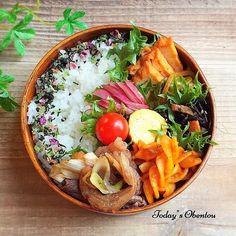Beautiful traditional bento box, featuring grilled chicken rolls, tamagoyaki, hijiki salad, and furikake rice