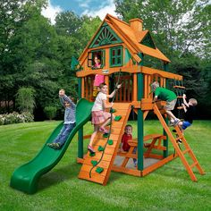 Gorilla Playsets Chateau Tower Swing Set with Wood Roof Roof: Treehouse with Fort Add-On Playground Set, Backyard Playground, Best Swing Sets, Backyard Playset, Outdoor Playset, Wooden Playset, Swing And Slide, Small Backyard Landscaping, Backyard Ideas