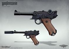 Concept art from Wolfenstein: The New Order - Handgun 46 , axel torvenius on ArtStation at https://www.artstation.com/artwork/concept-art-from-wolfenstein-the-new-order-handgun-46