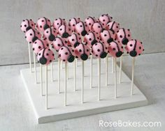 How to Make a Homemade Cake Pop Stand - Rose Bakes Pink Ladybug Party, Ladybug Cake Pops, Ladybug Girl, Cupcake In A Cup, Cupcake Cakes, Rose Cupcake, Cakepops, Cars Theme Cake, Oreo Cake Pops