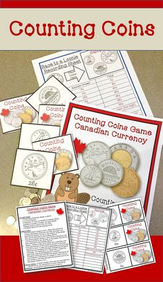 Counting coins is a fun way to explore money amounts and values to the dollar or two dollar value.  This game includes all the printables you need to turn this into a fun math station activity.  You will find visuals of nickels, dimes, quarters, loonies and toonies and full instructions on how to play the game.