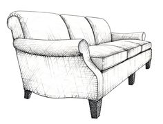 """Illustration by Anara Mambetova-Finkelstein for Bauer and Dean publication """"Pattern Book of Upholstery."""""""