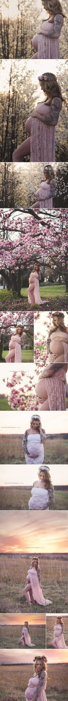 LAKE OF THE OZARKS MATERNITY PHOTOGRAPHY Pink maternity gown lace flowers outdoors