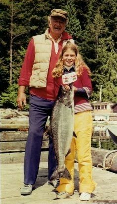 John Wayne and His Daughter, Marisa Wayne, 1977..