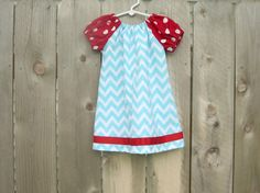 Red, White, Blue Patriotic 4th of July Chevron Baby Girl Toddler Peasant Dress for Summer via Etsy