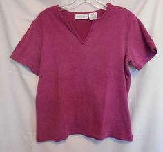 Jaclyn Smith Deep Pink Top Size Med.  Scoop Neck with V Short Sl. Cotton Blend #JaclynSmith #KnitTop #Career
